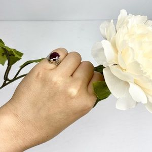 Vintage Faceted Round Oval Ruby Silver Ring